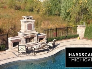 Brick Paver Fireplace & Custom Pool Design - Michigan
