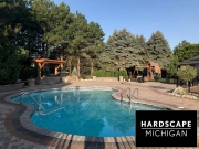 Fiberglass Pool and Brick Paver Sundeck in Harrison Township, MI