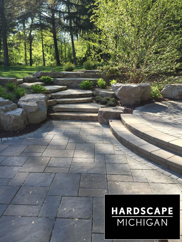 Brick Paver Patio Rochester Hills, Natural Stone Ledge Steps and Armor Stone Croppings