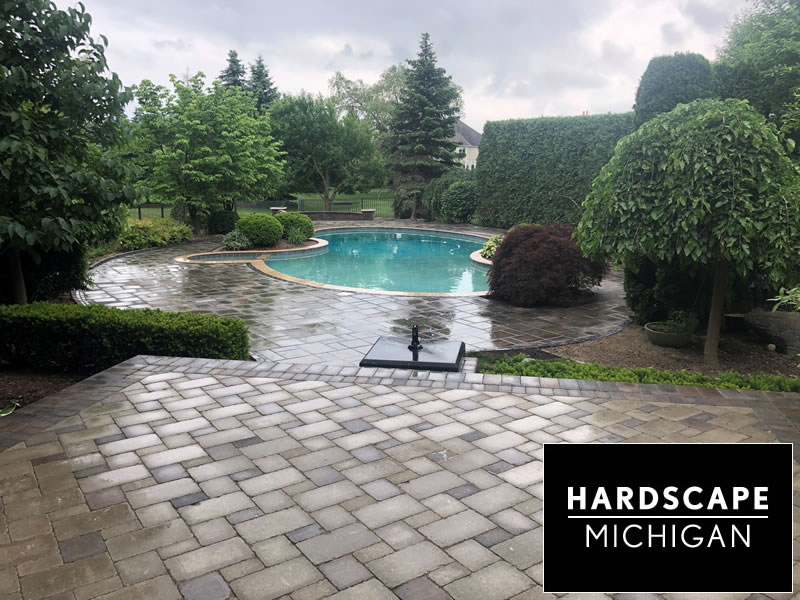 Residential Tumbled Paver Patio / Pool Deck Installation.  Oakland Twp, MI
