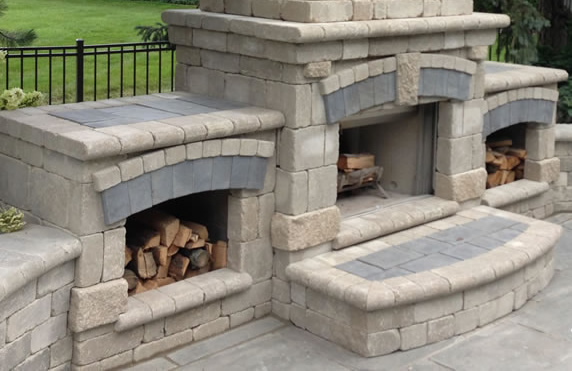 Outdoor Fireplace Installation : Clarkston outdoor living space hardscape contractor