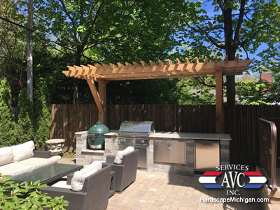 Pergola, Kitchen, Outdoor Living Space in Oakland County